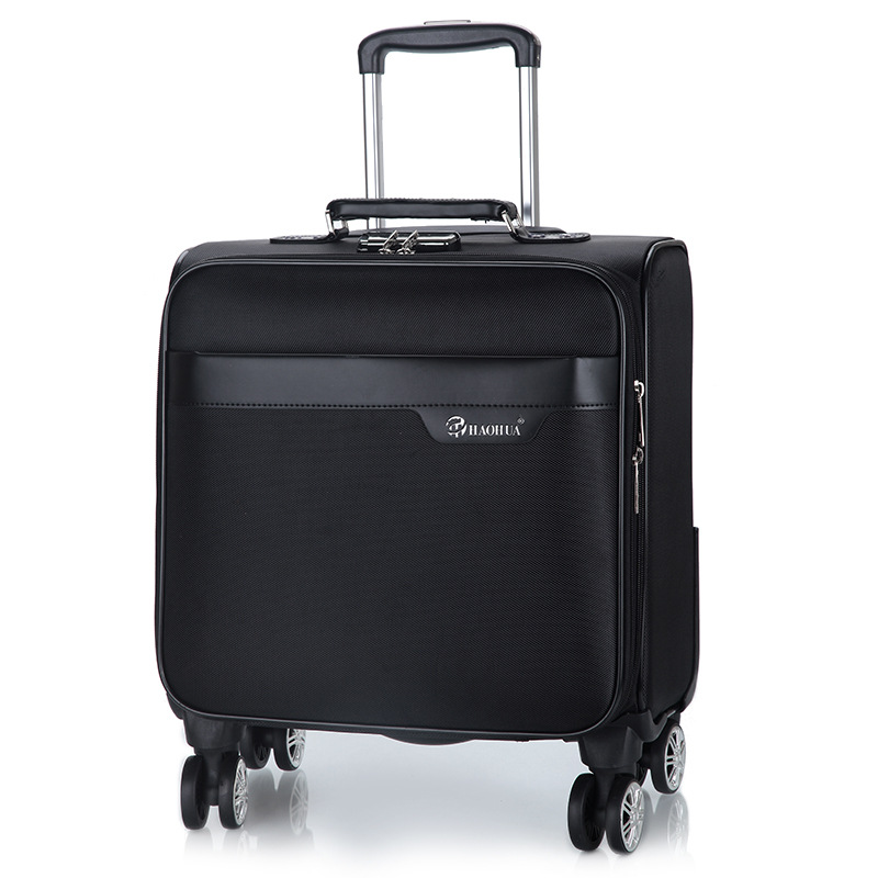 Men's and women's travel luggage Waterproof luxury suitcase 18inch Leather Travel Case Pulley Cart Vintage Rolling Suitcase