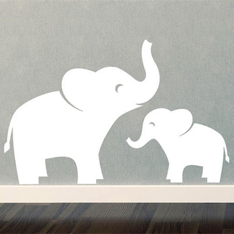 Mom & Baby Elephant Wall Decal Set - Jungle Safari - <font><b>Children</b></font> - Boy Girl wall <font><b>Sticker</b></font> Home Decor Vinyl Wall Quote