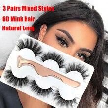 3 Pairs 6D Mink False Eyelashes With Tweezer Crisscross Natural Makeup Eyelash Fluffy Mink Magic Fake Lashes for Women Beauty