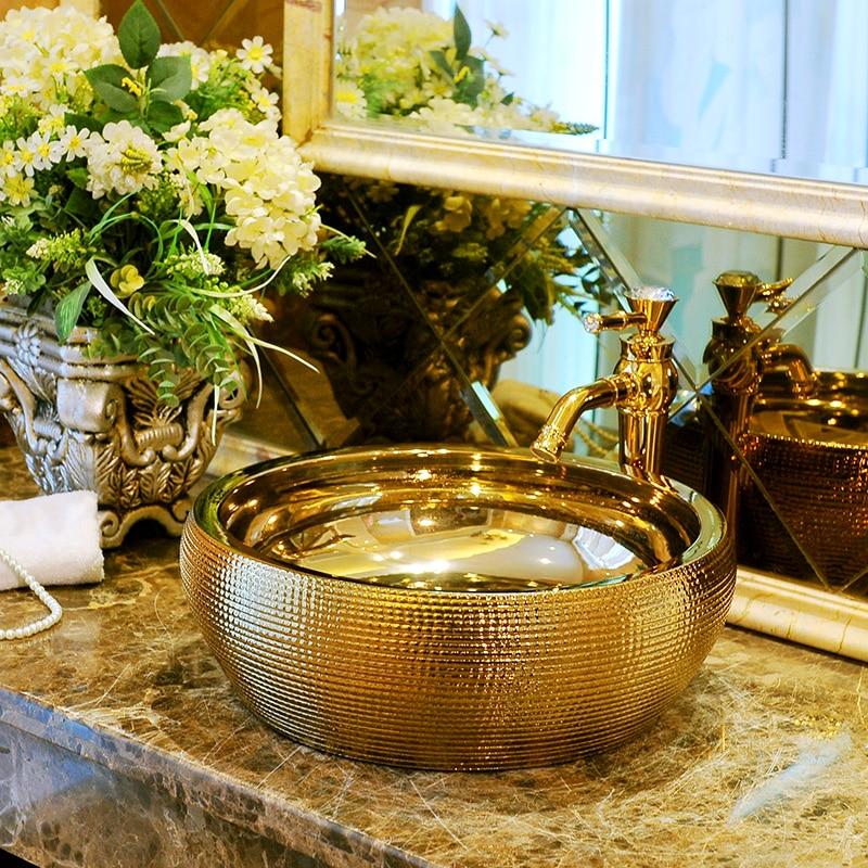 Luxurious Golden Glazed Ceramic Art Basin Sinks Counter Top Wash Basin  Bathroom Vessel Sinks Vanities China Washing Basin