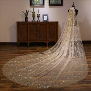Image 2 - חתונה רעלות 3 מטרים כלה כיסוי ראש מקל גביש תחרה שמי זרועי הכוכבים דפוס קתדרלת כלה רעלות חתונת אביזרי צילום