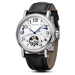 الترفيه التلقائي الميكانيكية جلد طبيعي مقاوم للماء ساعة مع روما الأعمال الرقمية لمختلف المناسبات M171S. Black