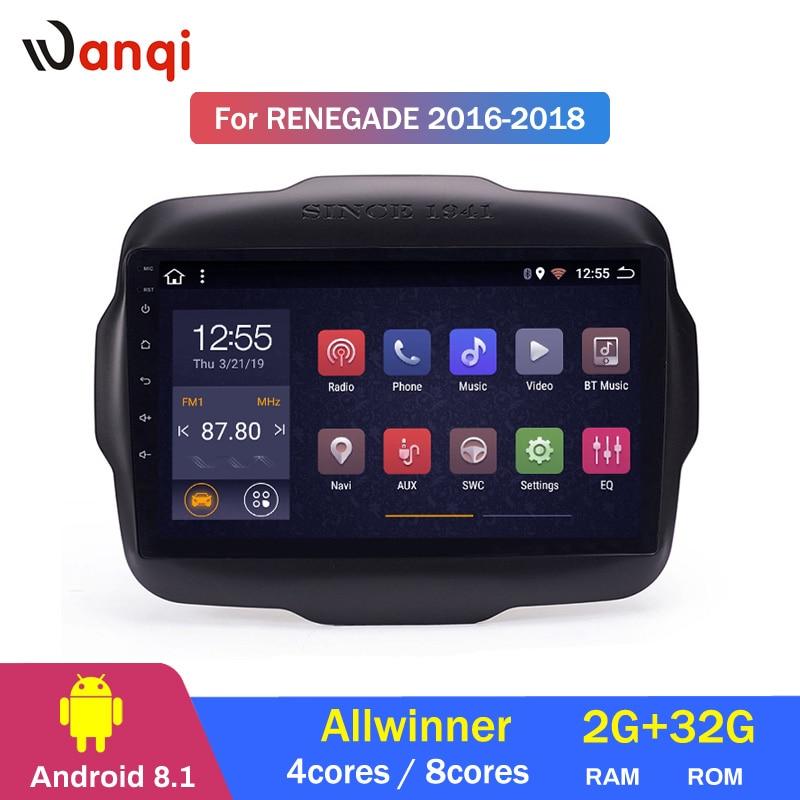 2G RAM 32G ROM 9 pouces Android 8.1 système multimédia de voiture pour Jeep Renegade 2016-2018 gps radio navigation