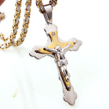 Hot Selling 316L Stainless Steel Jesus Christ Cross Pendant Necklace 5mm Silver Gold Byzantine Link Chain Men Boys Gift недорого