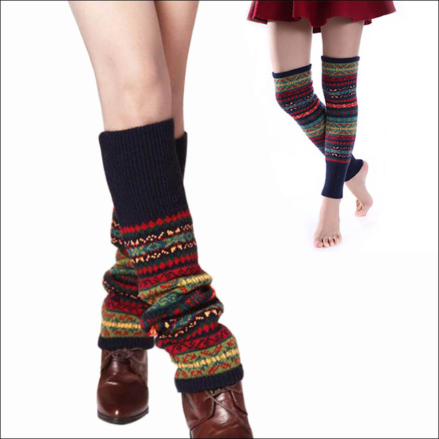 6aee91ee8aadc New Winter Thermal Cashmere Stockings Women Over Knee Socks Wool Colorful  Women's Knitted SocksThicken Girl Warm