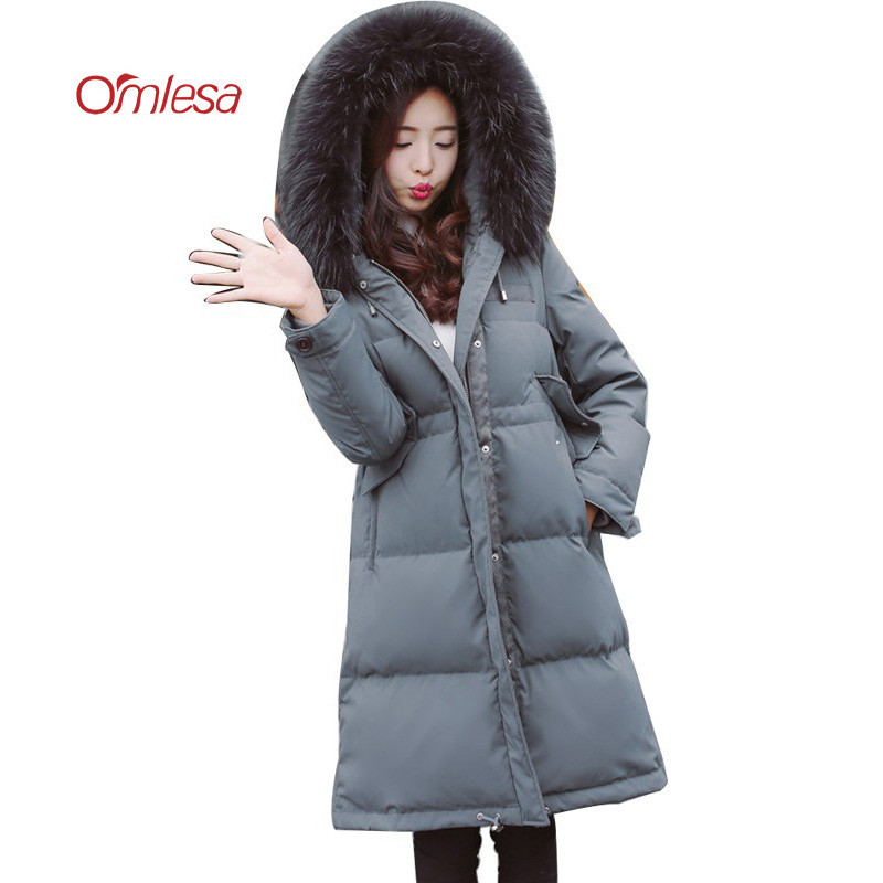 OMLESA Fashion Winter Down Jacket Women Long Slim Duck Down Parka Padded Female High Quality Pure Color Outwear Coat YQ306
