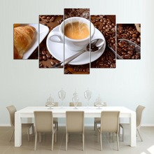 HD Printed Modular Painting Frame Canvas Poster 5 Piece Steaming Coffee Cup Pictures For Kitchen Food Home Wall Art Decor PENGDA