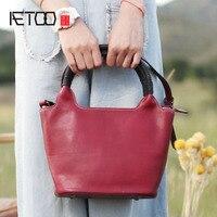AETOO Новый shell сумка в этническом стиле ручной работы кожа красная сумочка литературный ретро Повседневная сумка