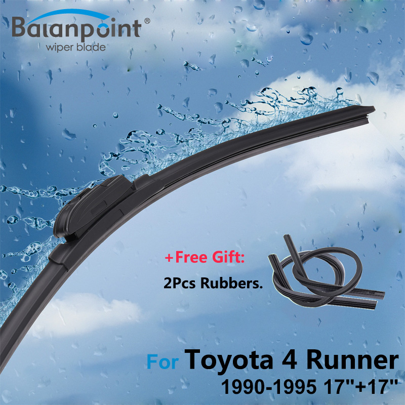 2Pcs Wiper Blades + 2pcs soft Rubbers for Toyota 4 Runner 1990-1995 17+17, Car Window Wipers