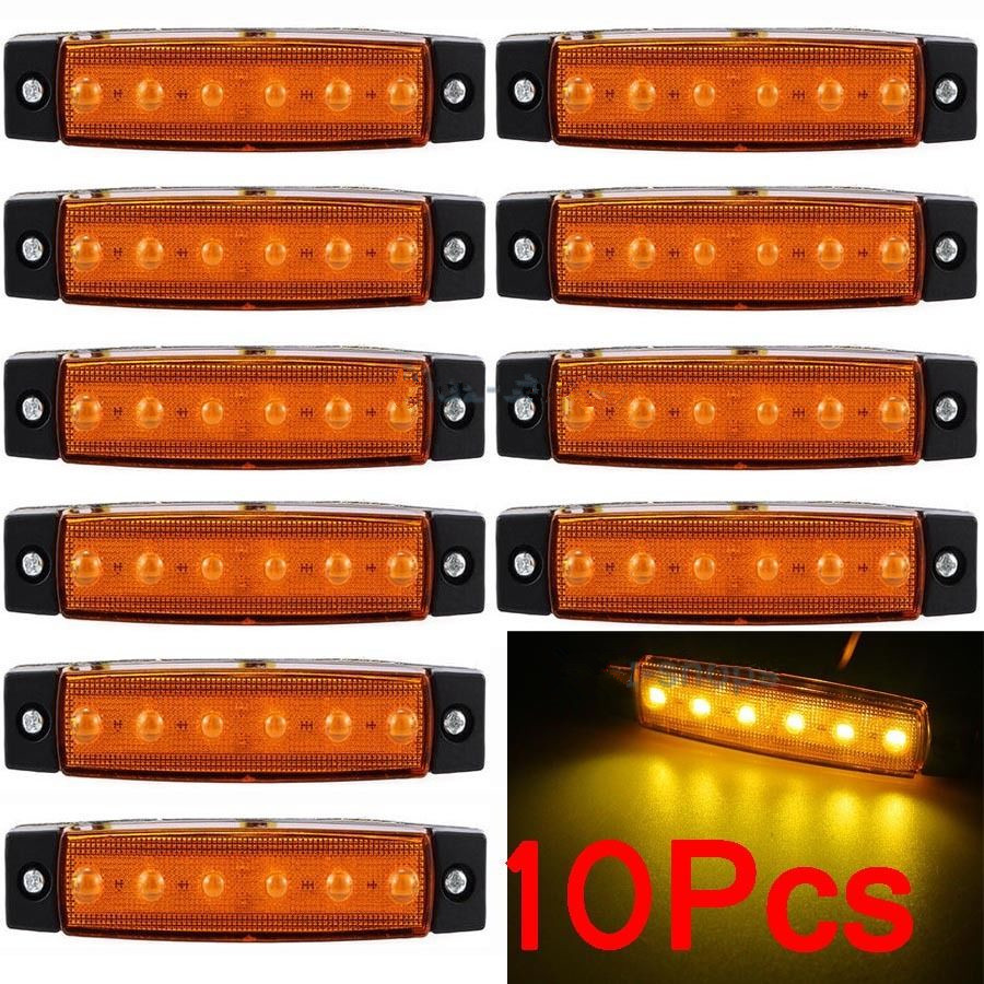 CYAN SOIL BAY 10Pcs 12V 24V 6LED Side Marker Indicators Lights Lamp For Car Truck Trailer Lorry 6 LED Amber Clearence Bus