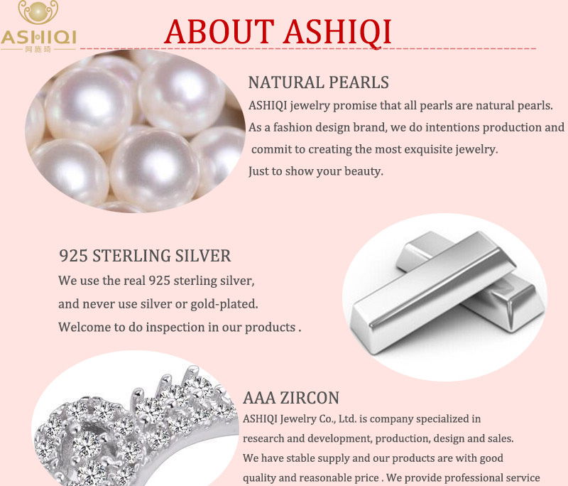 ASHIQI Real Pure 925 Sterling Silver Chain Pendant Necklace For Women 9-10mm White Gray Natural Freshwater Baroque Pearl Jewelry
