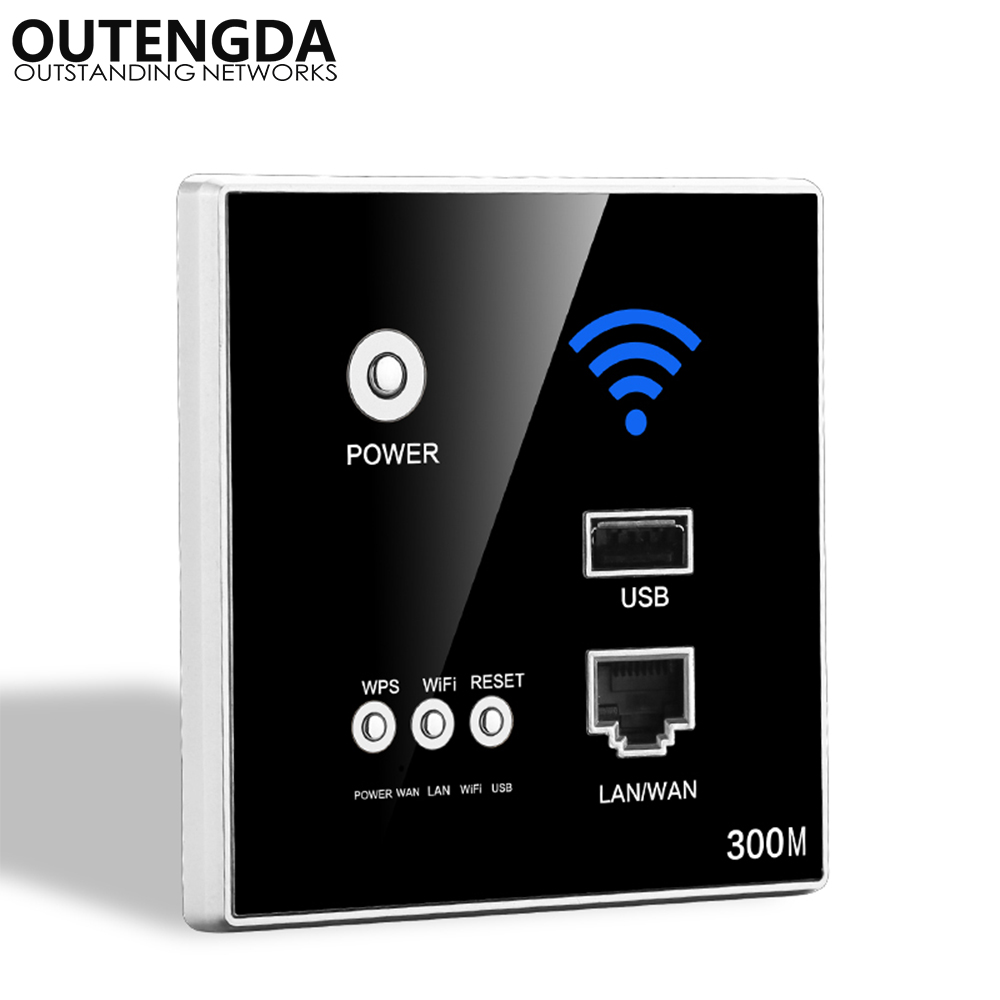300Mbps 802.11N In-wall Wireless Access Point For Smart Home WIFI Router Support AC Power Wireless Router With WPS Encryption