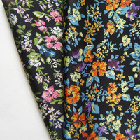 Free Shipping 2 Meters Simulation Silk Fabric Flowers Printing Pastoral Mori Girl Style Colorful Soft Apparel