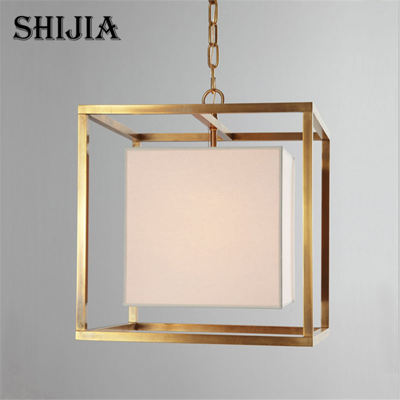 Pendant Lights American Country Iron Cloth Square Lamps Vintage Lighting for Living room Restaurant Bedroom Cafe Meeting Room american country crystal pendant lights european style living room modern bedroom restaurant candle iron lamps lu809182t107
