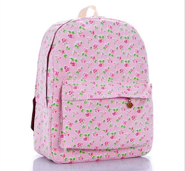3543445b9d4 Korean Pink Rose Floral Printed Canvas floral Backpack College New Fashion  Girls  School Bag Flower Women Rucksack backpack