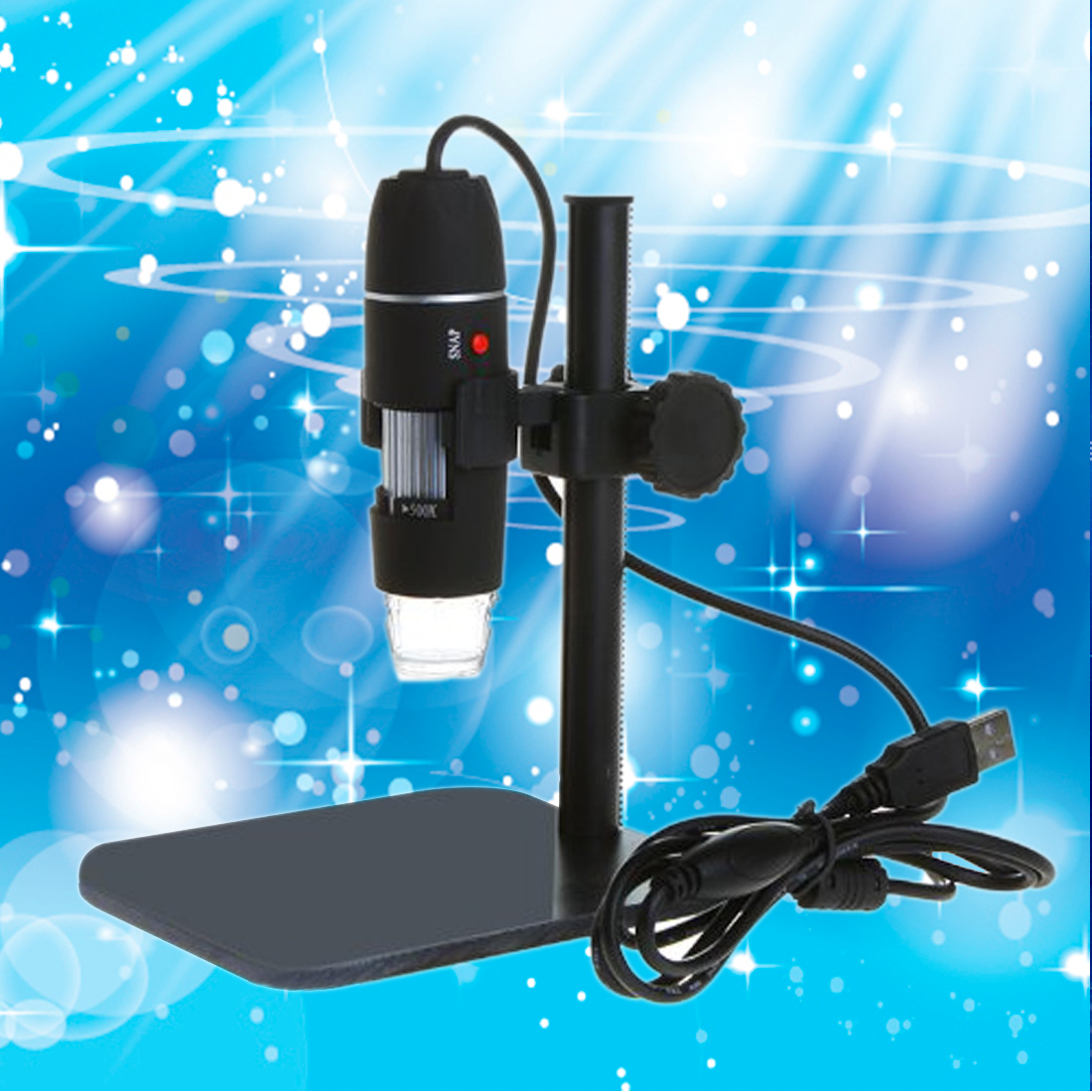 Practical Electronics 5MP USB 8 LED Digital Camera Microscope Endoscope Magnifier 50X~500X Magnification Measure