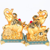 Free Shipping Gilt Prosperity Fortune Lucky Elephant Home Decoration Crystal Base Holiday Gift