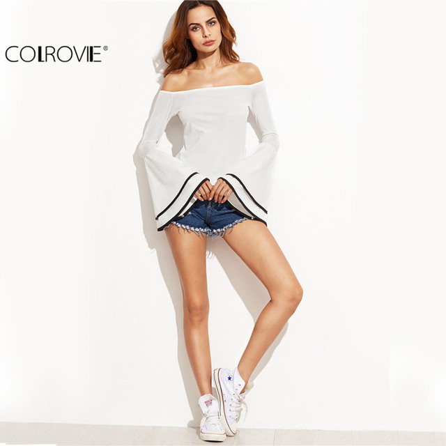 COLROVIE White Contrast Binding Flare Sleeve Off The Shoulder Layered Top Women Long Sleeve Ruffles Patchwork Blouse