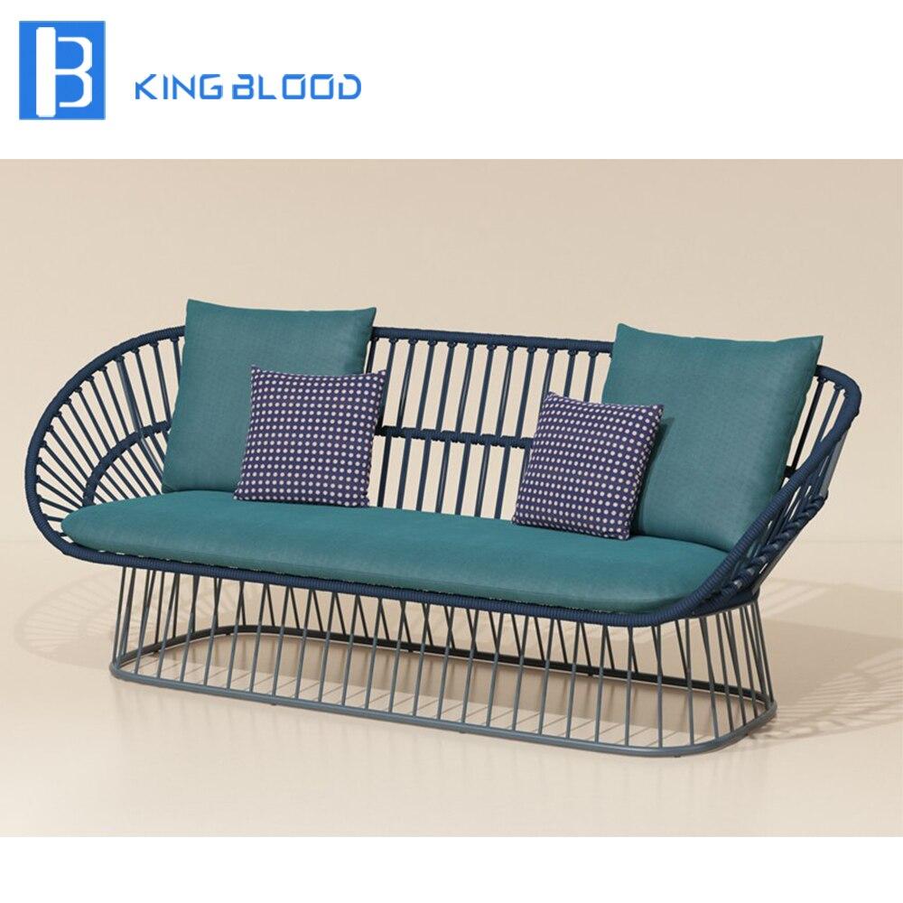 Новая алюминиевая ротанговая плетеная садовая мебель Современный наружный диван