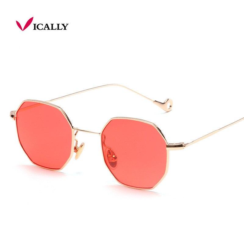 Modrá Žlutá Červená Tónované Sluneční Brýle Ženy Malý Rám Mnohoúhelník 2017 Značka Design Vintage Ženy Sluneční brýle pro muže Retro