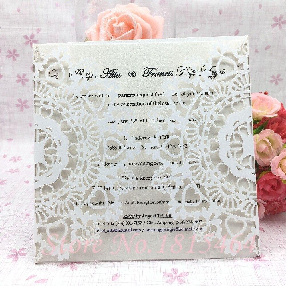 50pcs Heart Laser Cut Wedding Invitation Cards Invitations