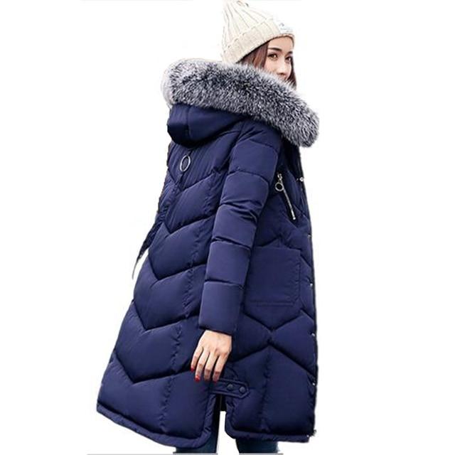 premium selection 43a72 6cf4f Winter Frauen Mit Kapuze Mantel Pelz Kragen Verdicken Warme Lange Jacke  Weibliche Oberbekleidung Parka Frauen Winter Jacke Damen Chaqueta Feminino