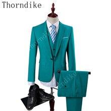 Thorndike 17 colores de traje de los hombres nueva moda 3 unidades boda  sastre barato trajes a088b3be5ff