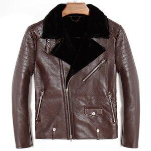 Image 4 - Free shipping.Mens plus size genuine leather jacket.motor biker sheep fur coat,winter warm 100% sheepskin clothes.soft shearling