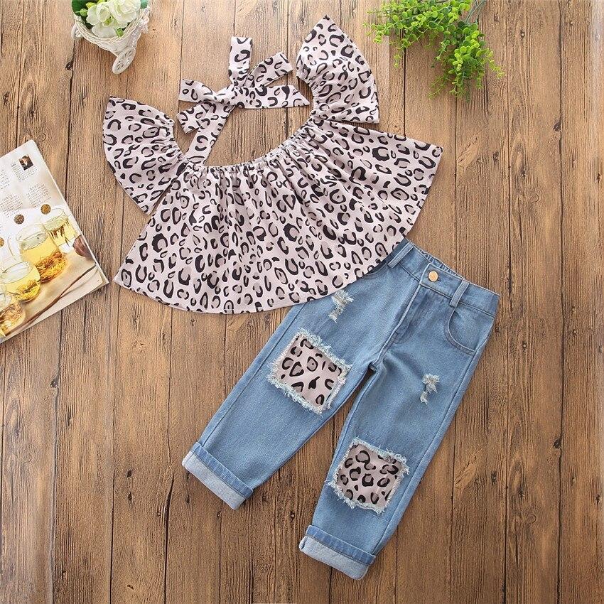 2018 ins hot sale meisjesmode kleding sets Leopard raglan mouw tops + - Kinderkleding - Foto 3