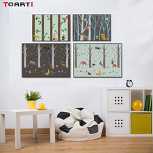 Nordic Style Cartoon Animals Bird Tiger Fox In Forest Canvas Painting Posters And Print Wall Picture For Kids Room Decoration