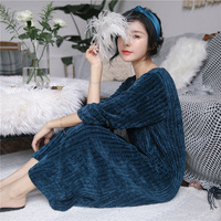 Women's night dress autum winter new nightdress long sleeved thick home clothes warm long nightgown women nightshirt