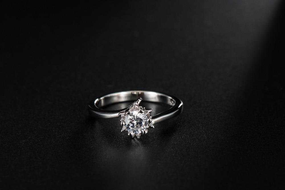 S925 Star Heart design Wedding Rings White Gold Filled Engagement