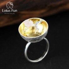 Lotus весело Настоящее стерлингового серебра 925 природных ювелирных украшений ручной работы цветок кольцо аромат Wintersweet кольца для женщин Bijoux
