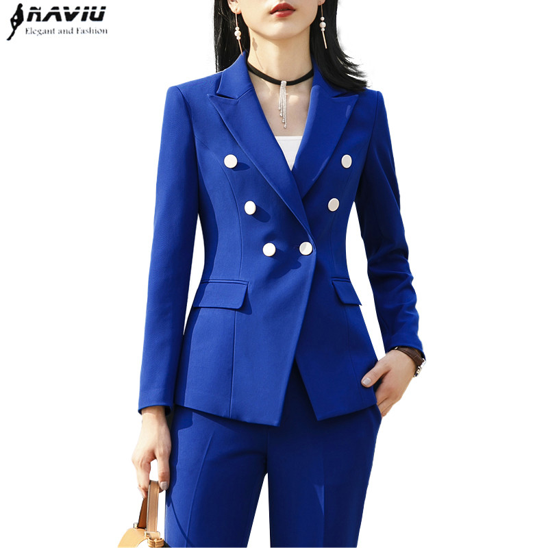 2018 New Fashion pants suits women business long sleeve blazer and trousers two pieces set office