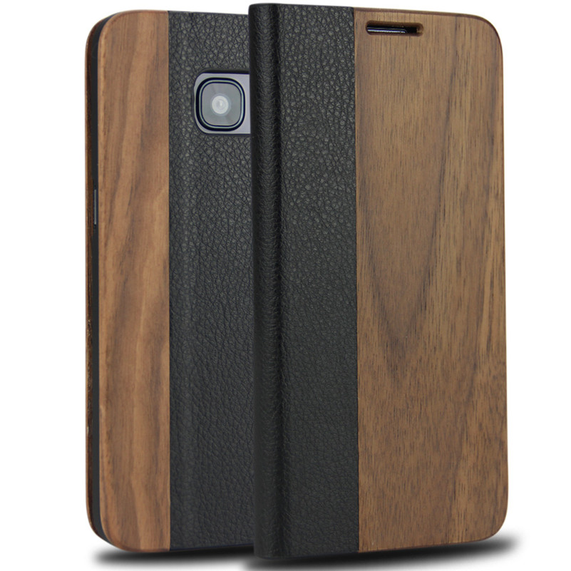 Retro Leather Flip Case for Samsung Galaxy S8 S7 edge S9 Plus Natural Real Wood Phone Cover with Stand for iPhone 7 8 Plus