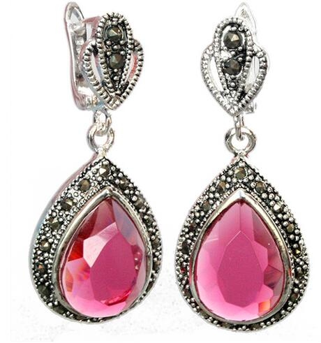Hot Selling> Natural 925 sterling silver, faceted pink crystal marcasite weave earrings 1 1/2 -investment Jewelry Free shipping