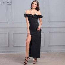 2018 New Vestido Celebrity Runway Maxi Dress Party Dress Black slash neck  voile floral Splitting Women Long Summer Bodycon Dress 09249e35f340