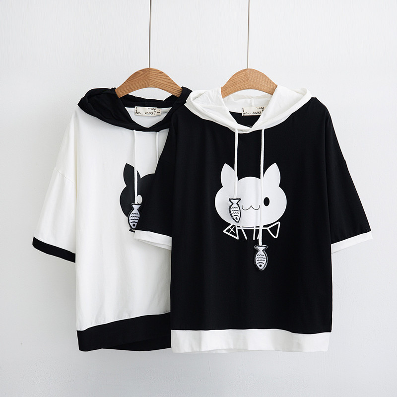 WXCTEAM Hooded Cat Shirt Women Spring Cute Cat Pattern Printed Short Sleeve Pullover Sweatshirt Girl Casual Hoodie Japan Style