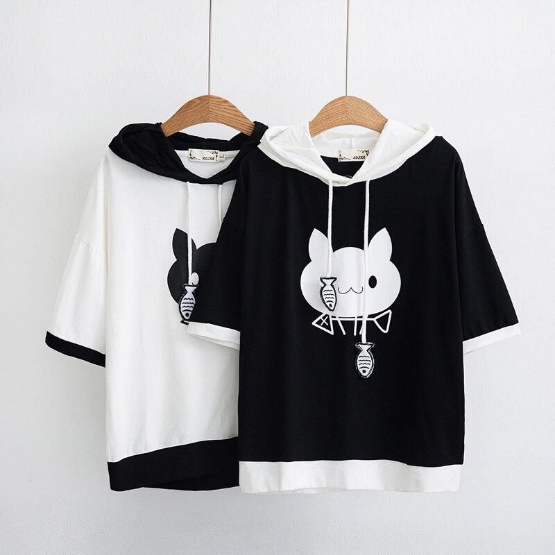 WXCTEAM Hooded Cat Shirt Women Spring Cute Cat Pattern Printed Short Sleeve Pullover Sweatshirt Girl Casual Hoodie Japan Style