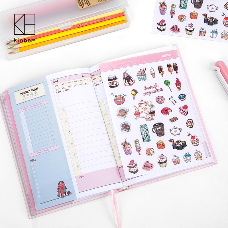 все цены на Kinbor 4 Colors Cute Planner Notebook 365 Days Personal Daily Plan book Project Agendas 2017 Kawaii Gift Korean Stationery онлайн