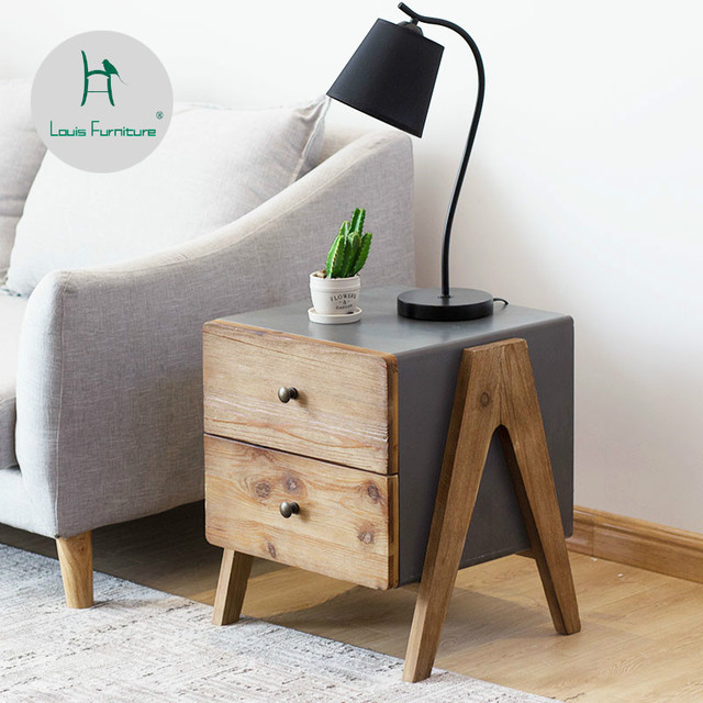 US $142.9 |Louis Fashion Nightstands Simple Modern Bedroom Imitation Cement  Edge Nordic Simple Home Furnishing-in Nightstands from Furniture on ...