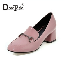 DoraTasia Big Size 34-43 Fashion Women Chunky Heels New Spring Autumn Shoes Square Toe Slip On Woman Pumps
