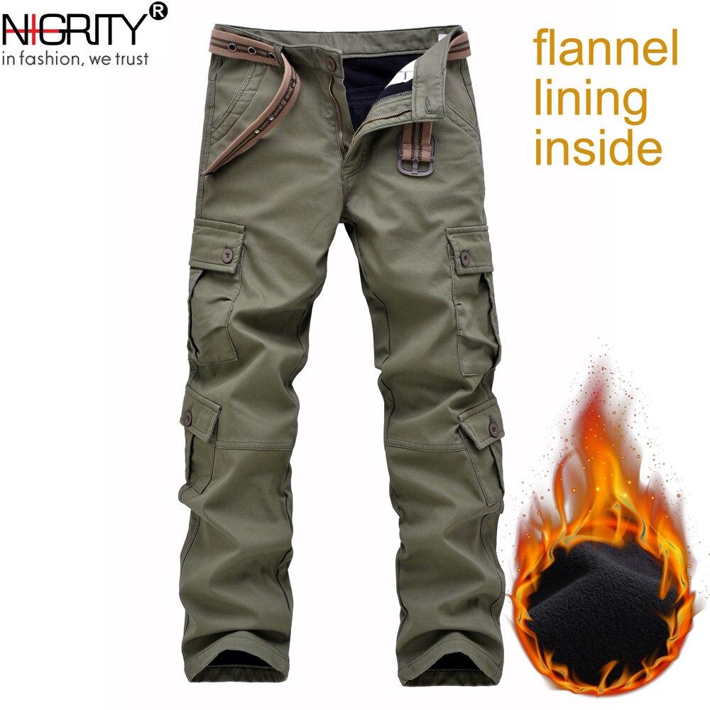 NIGRITY pantalon Cargo en flanelle pour hommes pantalon droit militaire décontracté coton molleton joggers pantalon Long grande taille 28-42