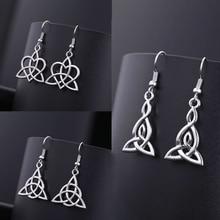 Teamer, ирландские серьги с узлом кельтики для женщин, Простые Модные ювелирные изделия, серебряный цвет, волшебные висячие серьги Wicca Viking для женщин