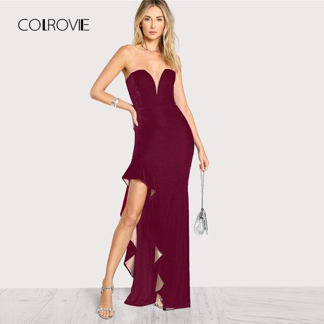 COLROVIE Burgundy Deep V Neck Ruffle Asymmetrical Slim Sexy Dress Women  2018 Autumn Party Dress Vintage 27426a26ee2e
