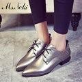 Ms. Noki Primavera Mujeres Del Cuero Genuino Zapatos de Punta Plana con cordones de Zapatos De Las Mujeres de Patentes de Cuero suave Femenina zapatos cómodos