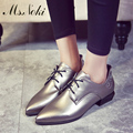 Ms.Noki Spring Genuine Leather Women Flat Pointed Shoes lace-up Shoes For Women Patent soft Leather Female comfortable shoes