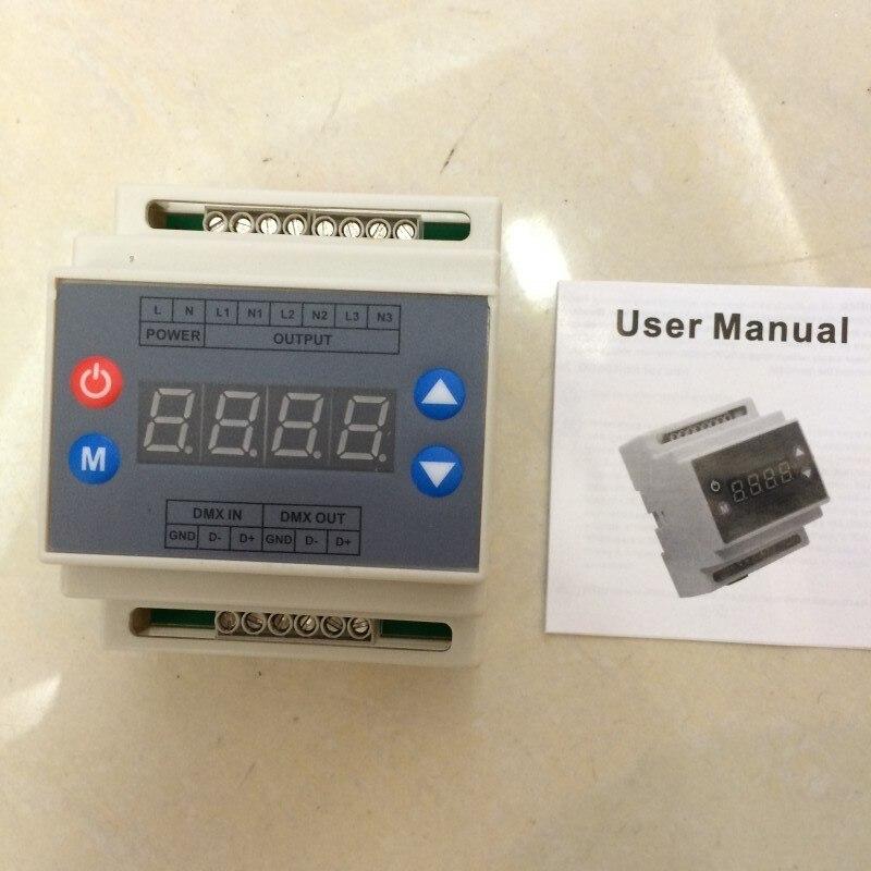 ФОТО DMX302 DMX triac dimmer led brightness controller Trailing edge AC90-240V  high voltage 3CH x1A/CH  for led strip panel light