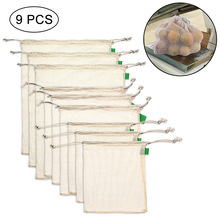 9pcs/Set Reusable Organic Cotton Food Storage Bags Shopping Mesh Fruit And Vegetable Bag Eco friendly alternative to Plastic Bag