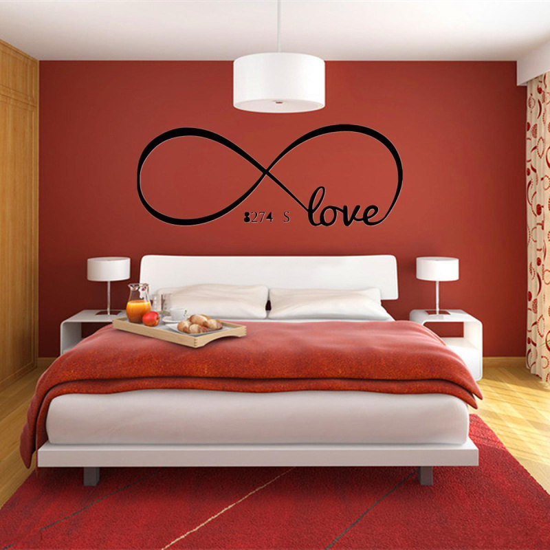 romantic infinity symbol word love design wall sticker quotes pvc removable decals diy art home couple